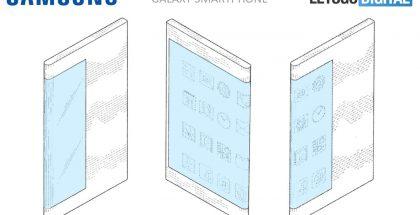 Samsungin patenttihakemuksen esittelemä puhelin. Kuva: LetsGoDigital.