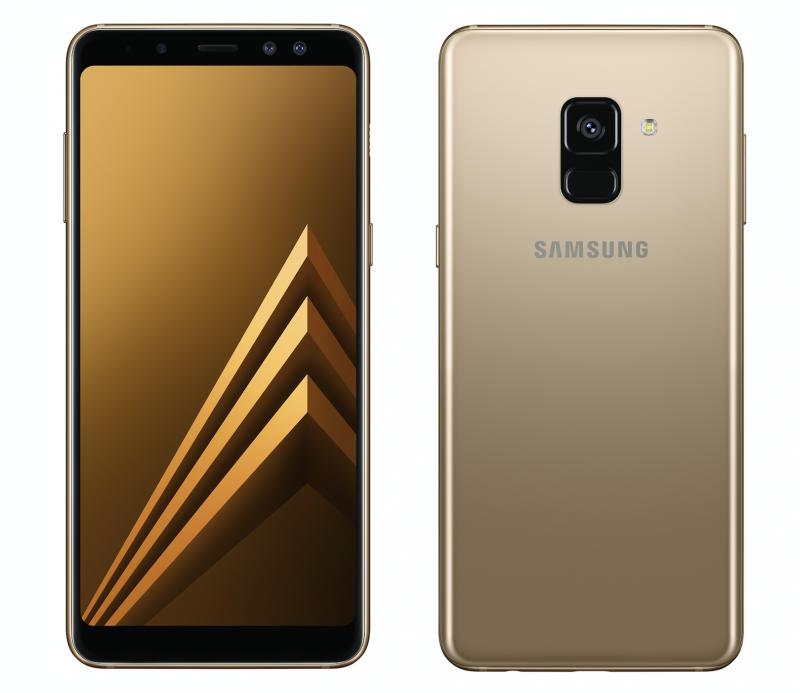 Samsung Galaxy A8 (2018) edestä ja takaa.