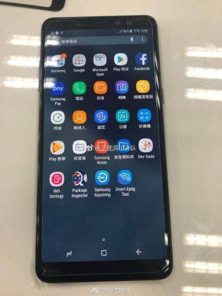Samsung Galaxy A8+ kiinalaisessa vuotokuvassa.