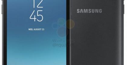 Samsung Galaxy J2 (2018) mustana WinFuture.den vuotamassa virallisessa kuvassa.