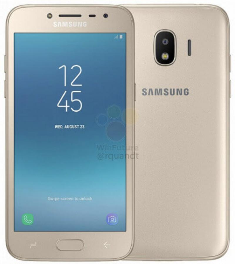 Samsung Galaxy J2 (2018) kultaisena WinFuture.den vuotamassa virallisessa kuvassa.