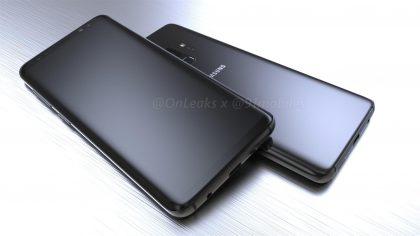 Samsung Galaxy S9:n design aiemmin julkaistussa OnLeaksin kuvassa.