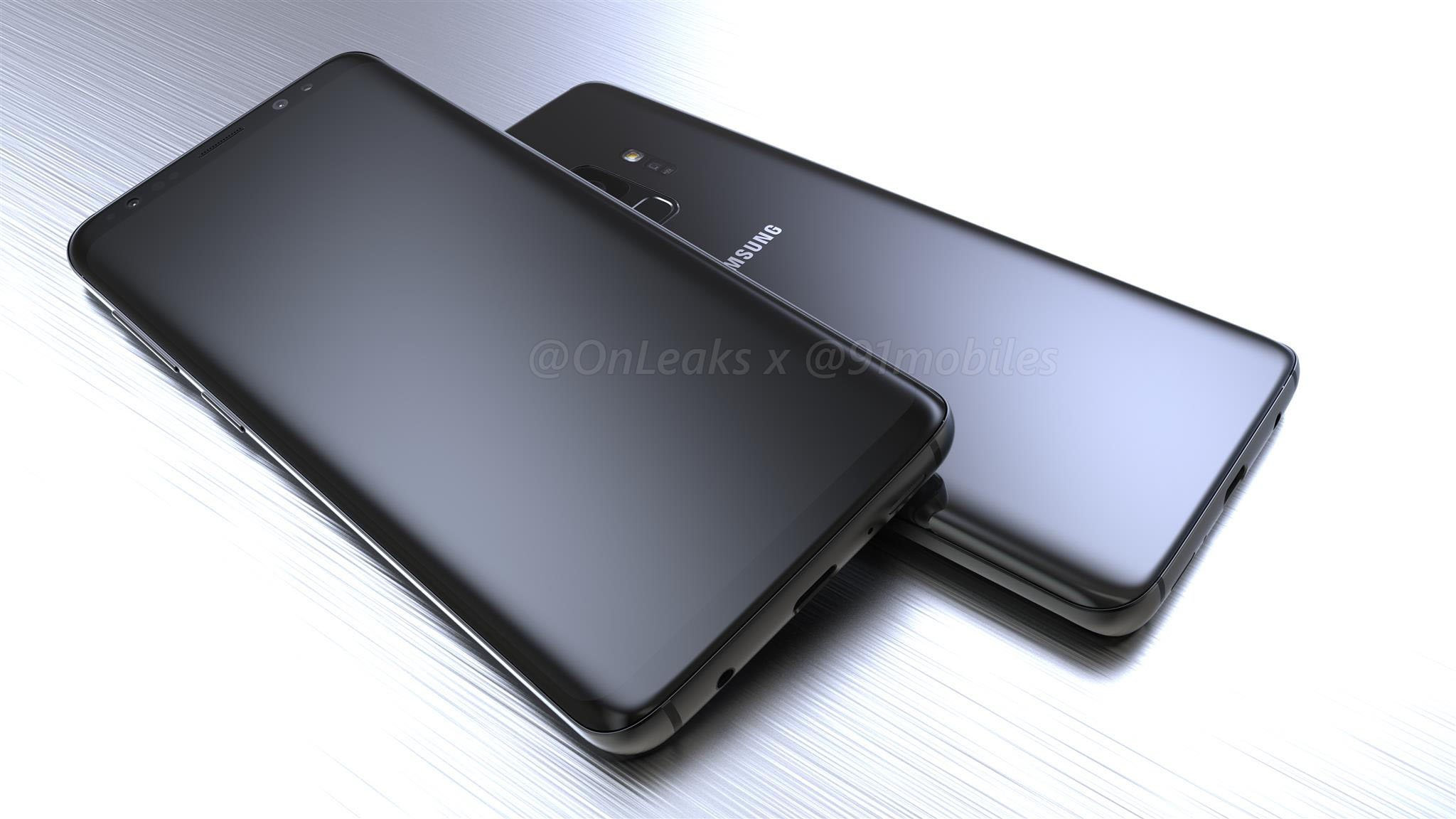 Samsung Galaxy S9:n design OnLeaksin kuvassa.