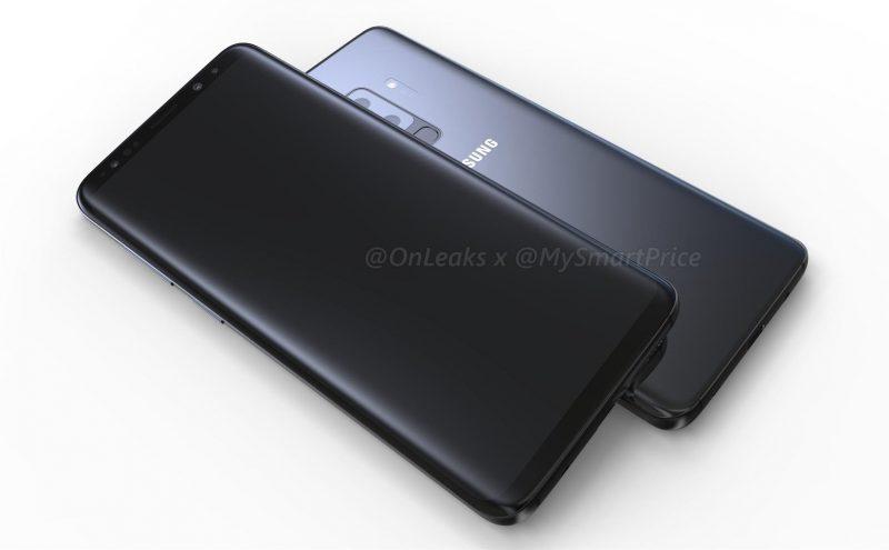 Ulkoisesti uudistusten odotetaan olevan maltillisia. Samsung Galaxy S9+:n design OnLeaksin kuvassa.