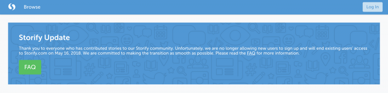 Storify kertoo sivuillaan muutoksista, eli palvelun alasajosta.