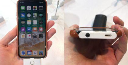 Lisävarustepalikka lisää iPhoneen kotipainikkeen ja kuulokeliitännän. Mukana on myös Lightning-liitäntä. Kuva: 9to5Mac.