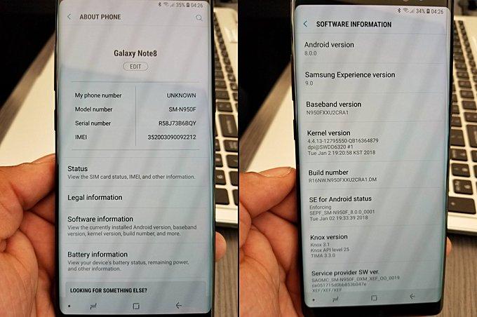 Reddit-käyttäjän Galaxy Note8 sai jo yllättäen Oreo-päivityksen.