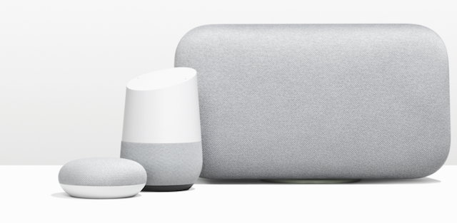 Googlen Home Mini, Home ja Home Max -älykaiuttimet.