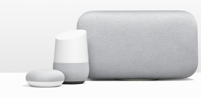 Googlen Home Mini, Home ja Home Max -älykaiuttimet.