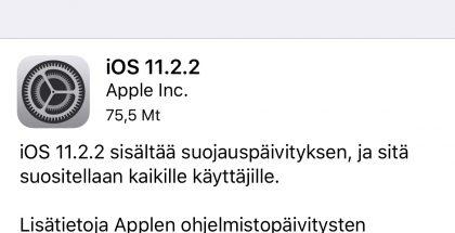 iOS 11.2.2 -päivitys.