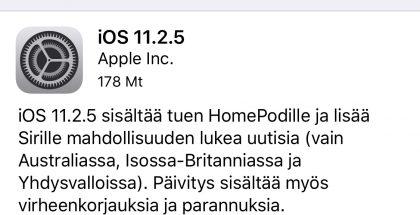 iOS 11.2.5 -päivityksen tiedot.