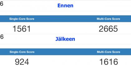 Melvin Mughalin saamat testitulokset iOS 11.1.2:lla ja iOS 11.2.2:lla iPhone 6 -puhelimellaan.