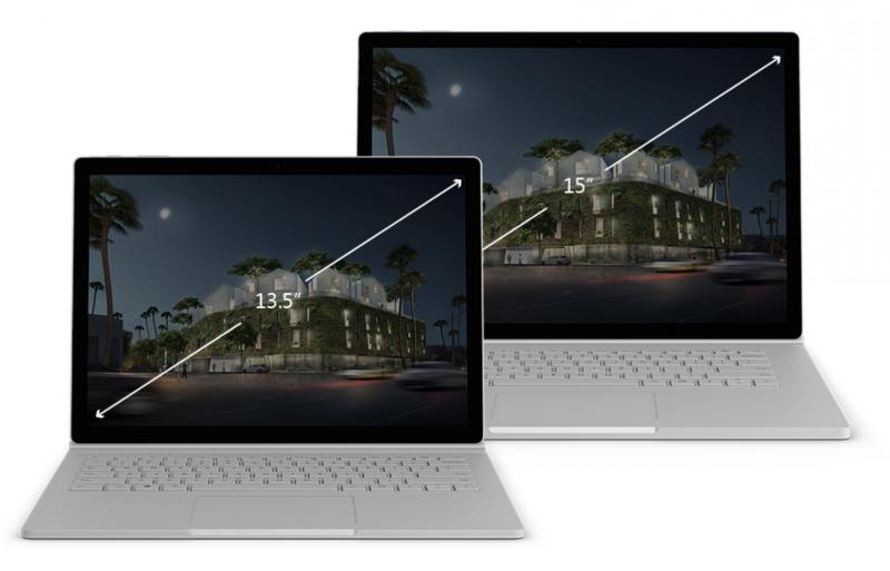 Surface Book 2:n kaksi kokoa.