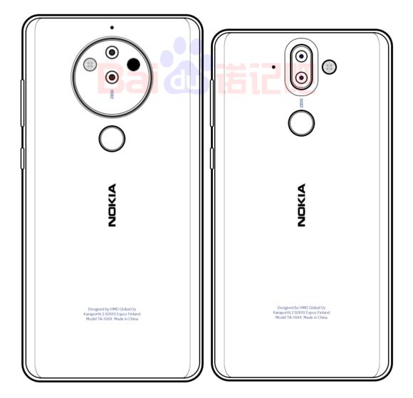 Jo puolisen vuotta vanhassa kuvassa vasemmalla huhuttu uusi erikoinen Nokia-kamerapuhelin. Oikealla verrokkina Nokia 8 Sirocco.