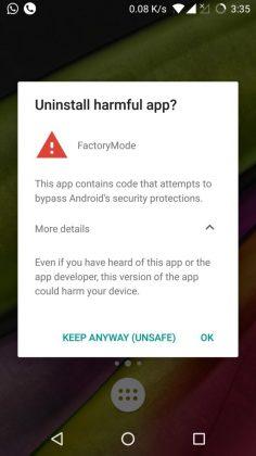 Google Play Protect -suojaus varoittaa OnePlussan testisovelluksesta. Kuva: G_Lokesh_Yeole_pXPG.