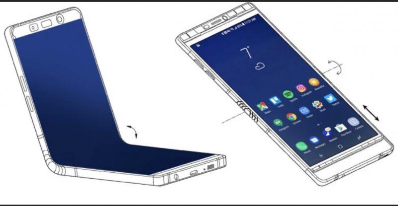 Samsungin toisen taittuvanäyttöisen älypuhelimen odotetaan taittuvan tällä tavoin.