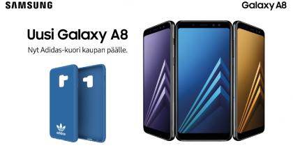 Samsung Galaxy A8 (2018):n ostaja saa kaupan päälle myynin aluksi Adidas-suojakuoren.