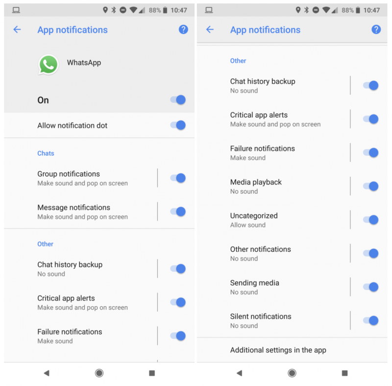 WhatsAppissa Androidilla voi pian säätää ilmoituksia erittäin kattavasti.