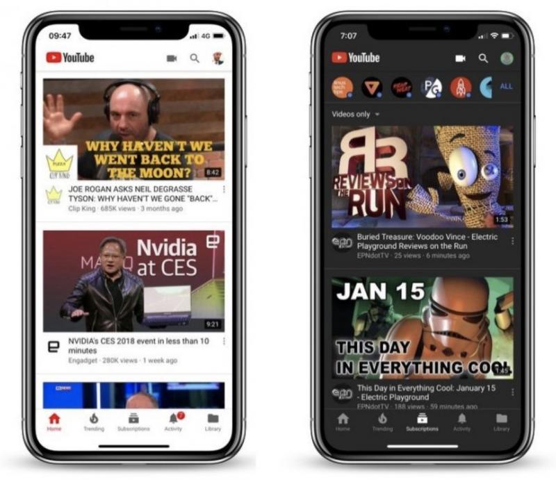 YouTuben vaalea ja tumma teema iPhone X:ssä.