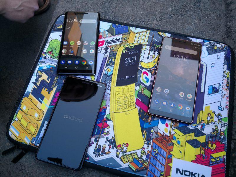 Kuvassa Nokia 6.1, Nokia 7 Plus ja Nokia 8 Sirocco.