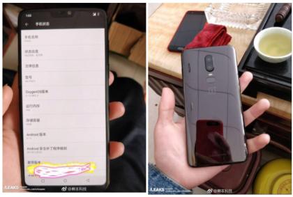 Väitetty OnePlus 6 aiemmissa vuotokuvissa.