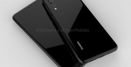 Huawei P20 Plus / P20 Pro -design OnLeaksin aiemmin julkaisemassa kuvassa.
