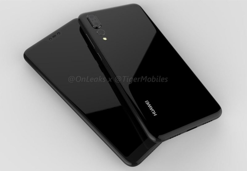 Huawei P20 Plus / P20 Pro -design OnLeaksin julkaisemassa kuvassa.