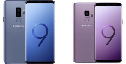 Nykyiset Samsung Galaxy S9+ Coral Blue -värissä ja Galaxy S9 Lilac Purple -värissä.