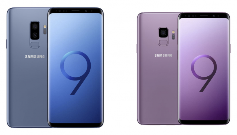 Samsung Galaxy S9+ Coral Blue -värissä ja Galaxy S9 Lilac Purple -värissä.