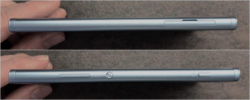 Xperia XA2:n kyljiltä löytyvät vasemmalta korttien aukko ja oikealta äänenvoimakkuuden säätöpainikkeet, pienikokoinen virta/lukituspainike sekä erillinen kamerapainike.