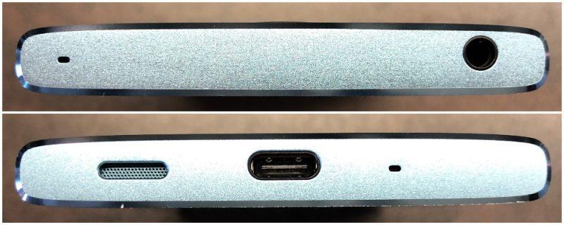 Xperia XA2:n yläpäästä löytyy 3,5 millimetrin kuulokeliitäntä ja yhden mikrofonin aukko. Pohjassa on kaiutin, USB-C-liitäntä ja toinen mikrofoniaukko.
