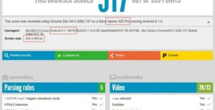 Sony Xperia XZ2 Pron HTML5test-tulos.