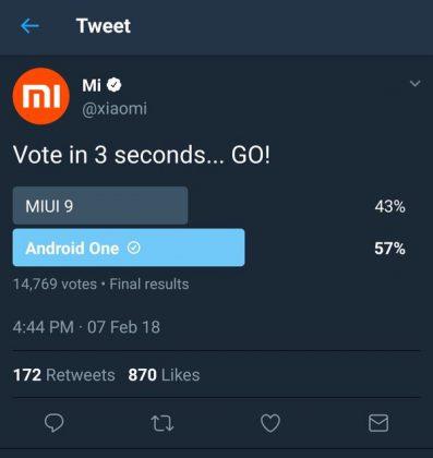Kuvankaappaus Xiaomin kyselyn tuloksista.