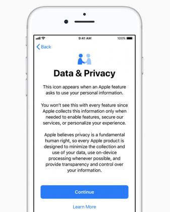Apple korostaa yksityisyyden huomioimista.