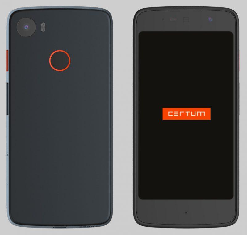 Tällainen Certum Phonesta on tulossa. Etupuolella on 5,5-tuumainen näyttö, takana sormenjälkilukija sekä kamera kuvausvalon kera.
