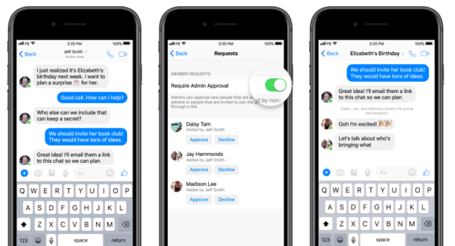 Facebook Messengeriin tulee ryhmän ylläpitäjälle uusi mahdollisuus hyväksyä jäseniä.