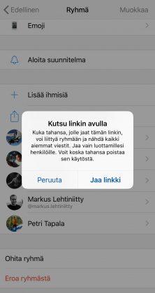 Facebook Messengerissä ryhmän tiedoissa voi nyt luoda jaettavan linkin.