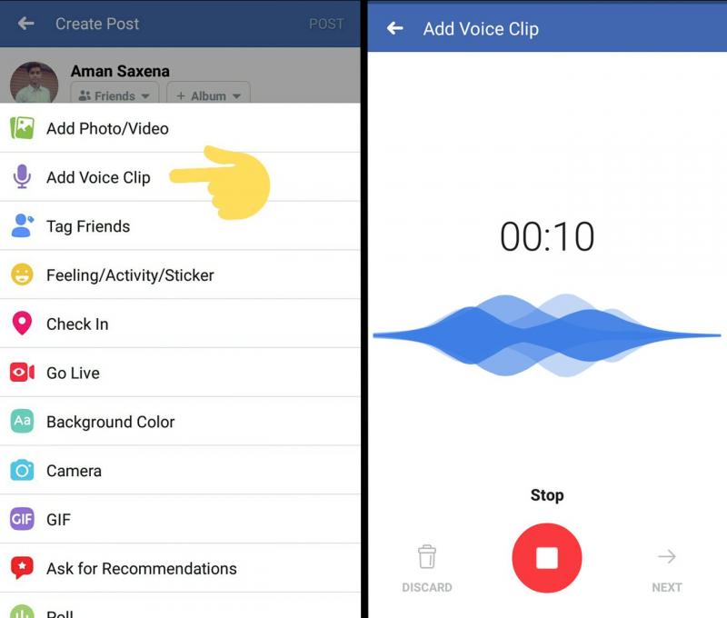 Facebook testaa lyhyiden äänipätkien julkaisumahdollisuutta.
