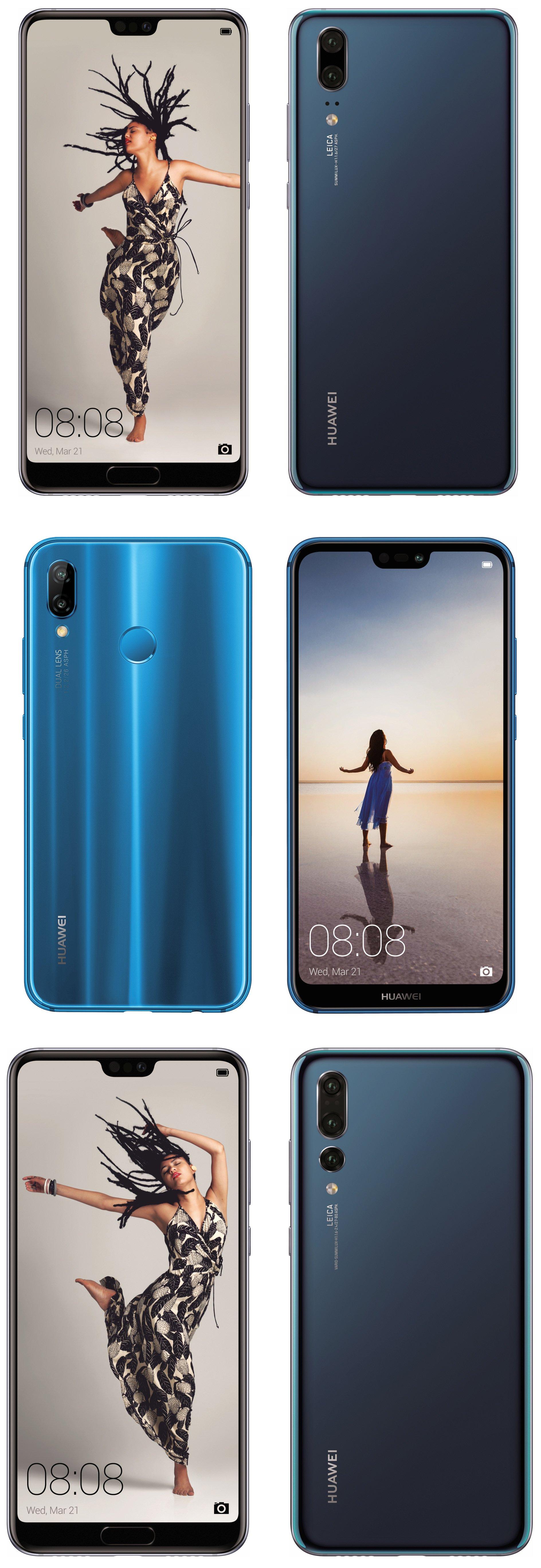 Huawei P20 -puhelinten värivaihtoehtoja.