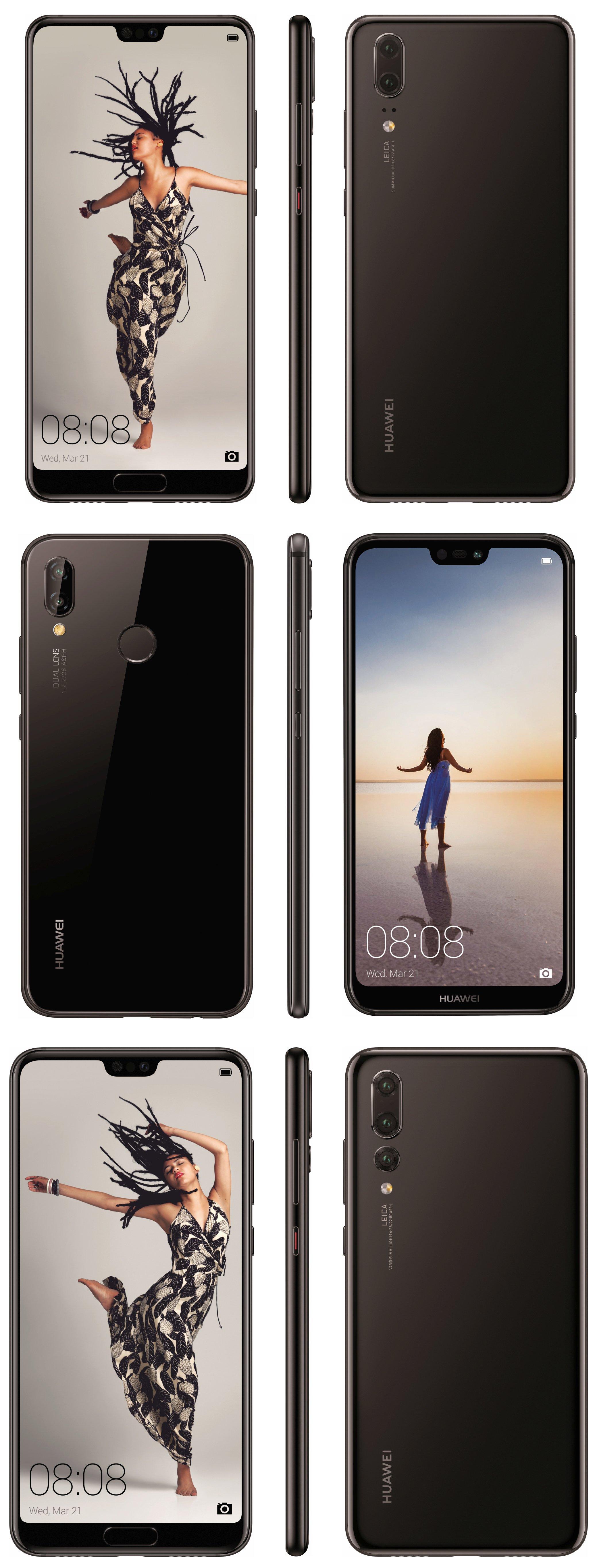 Huawei P20 -puhelimet mustana värinä.