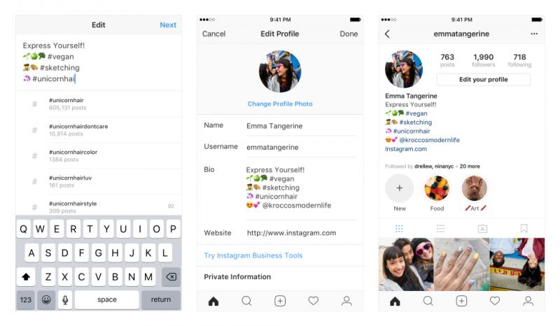 Instagram-profiilin tietoihin voi lisätä linkkejä hashtageihin sekä muihin käyttäjätunnuksiin.
