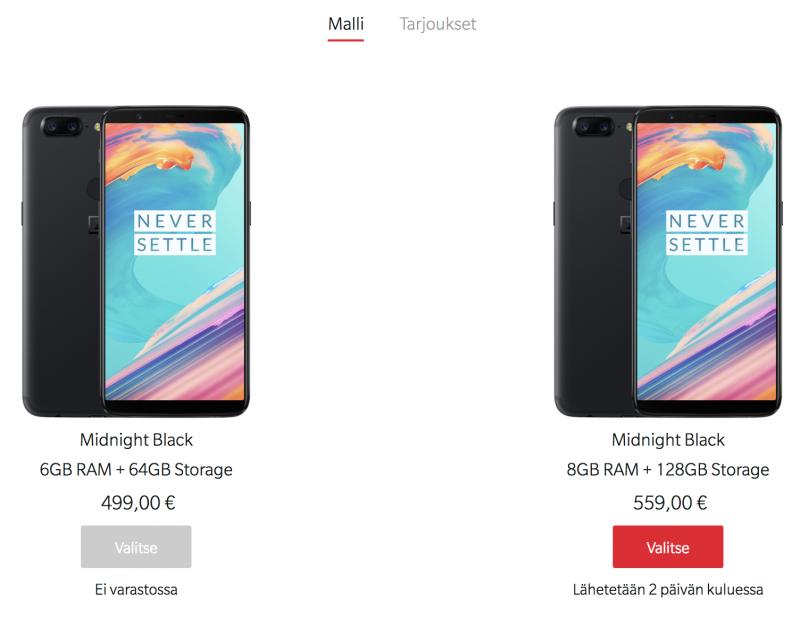 Myös Suomen OnePlus.net-verkkokaupassa edullisempi OnePlus 5T -malli on loppu varastosta.