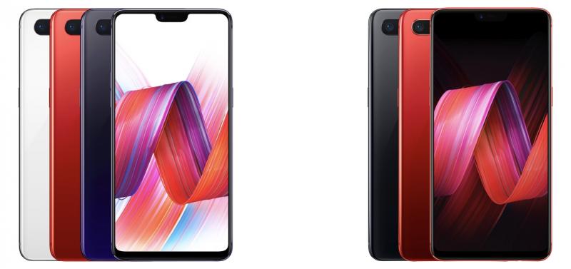 Oppo R15 eri väreinä vasemmalla, Oppo R15 Dream Mirror Edition oikealla.