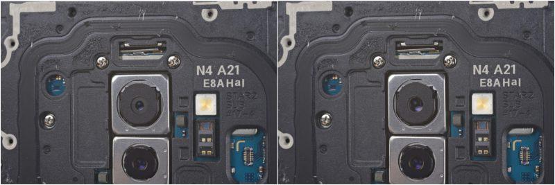 Galaxy S9:n takakameran aukon koko vaihtuu kahden vaihtoehdon välillä. Kuvat: iFixit.