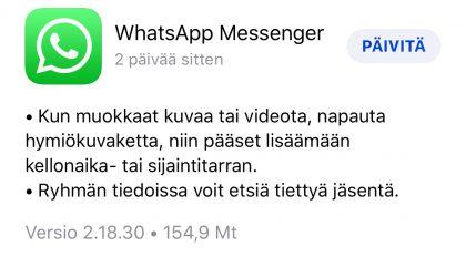 WhatsAppin päivitys iPhonella tuo kaksi uudistusta.