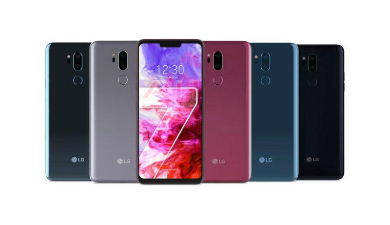 LG G7 ThinQ:n eri värivaihtoehdot väitetyssä virallisessa kuvassa.