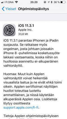 iOS 11.3.1 -päivityksen tiedot.