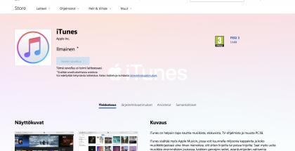 iTunes Windows 10:lle Microsoft Kaupassa.