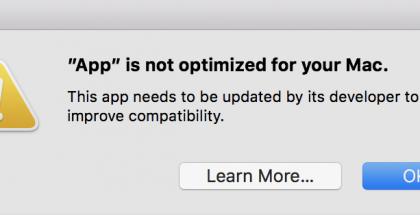 Näin Apple varoittaa englannin kielellä sovellusten jatkossa päättyvästä tuesta.