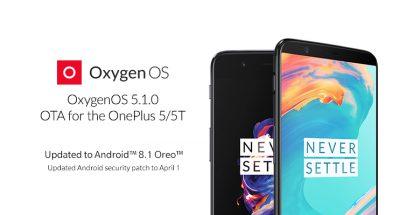 OnePlus 5 ja 5T saavat OxygenOS 5.1.0 -päivityksen.